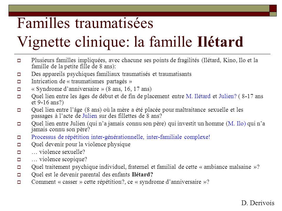 Plusieurs familles impliquées, avec chacune ses points de fragilités (Ilétard, Kino, Ilo et la famille de la petite fille de 8 ans): Des appareils psy