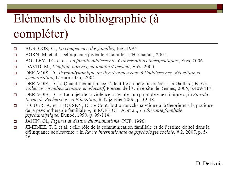 Eléments de bibliographie (à compléter) AUSLOOS, G., La compétence des familles, Erès,1995 BORN, M. et al., Délinquance juvénile et famille, LHarmatta
