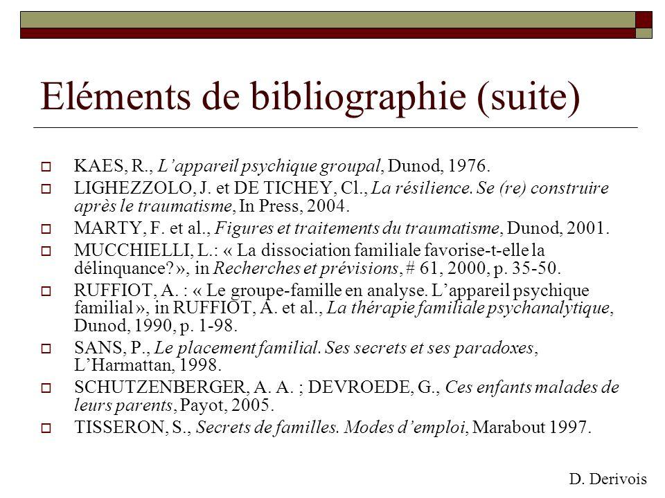 Eléments de bibliographie (suite) KAES, R., Lappareil psychique groupal, Dunod, 1976. LIGHEZZOLO, J. et DE TICHEY, Cl., La résilience. Se (re) constru