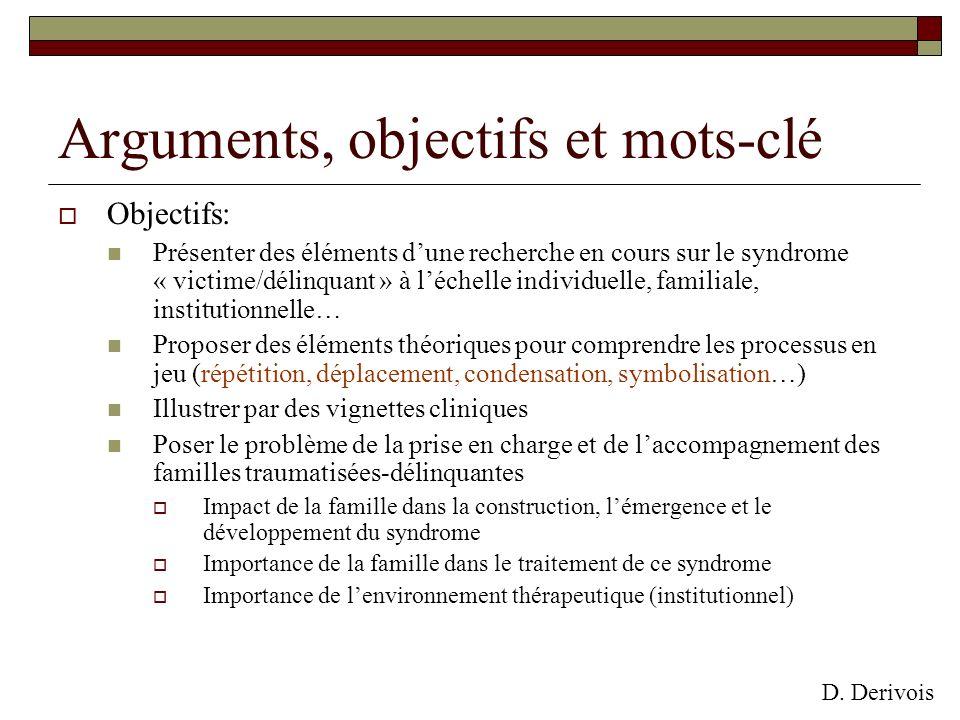 Objectifs: Présenter des éléments dune recherche en cours sur le syndrome « victime/délinquant » à léchelle individuelle, familiale, institutionnelle…