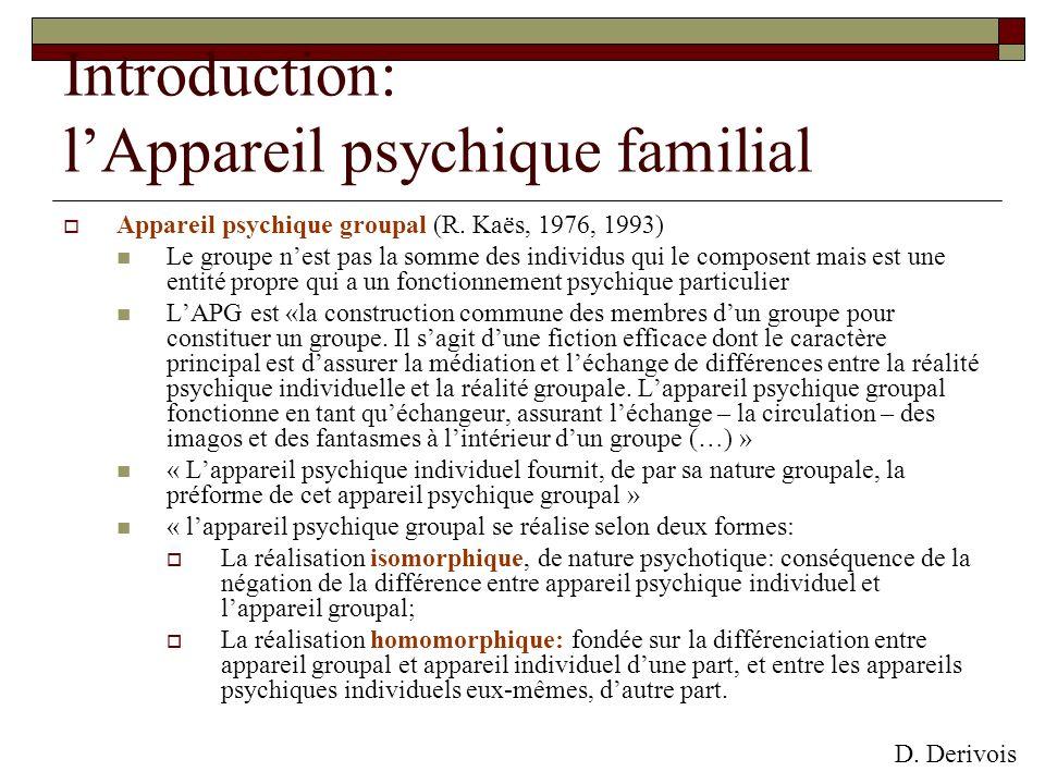 Introduction: lAppareil psychique familial Appareil psychique groupal (R. Kaës, 1976, 1993) Le groupe nest pas la somme des individus qui le composent