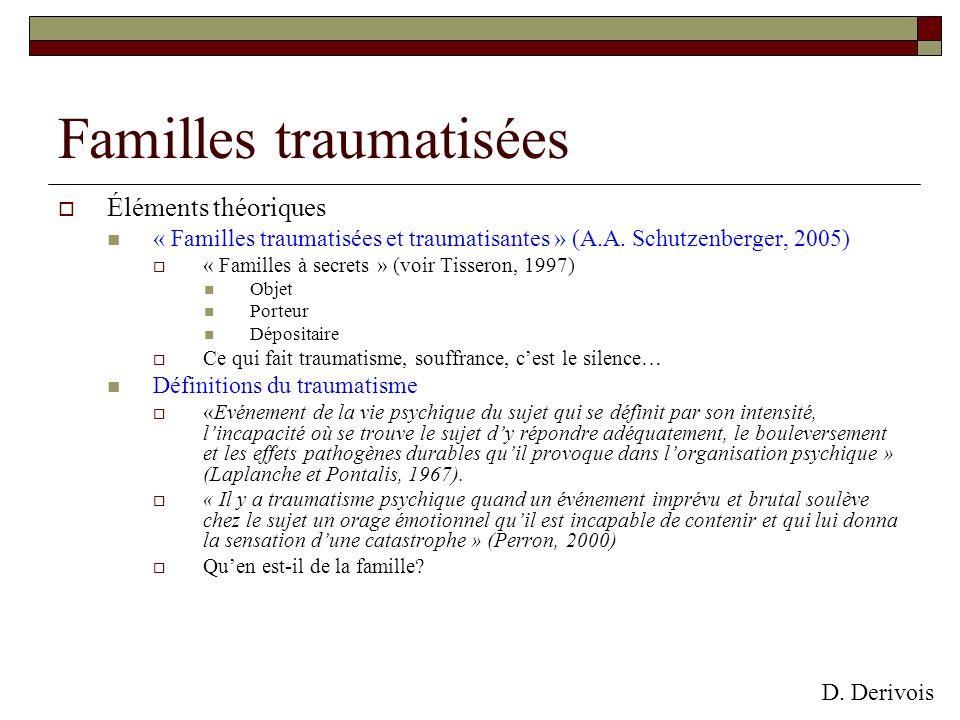 Familles traumatisées Éléments théoriques « Familles traumatisées et traumatisantes » (A.A. Schutzenberger, 2005) « Familles à secrets » (voir Tissero