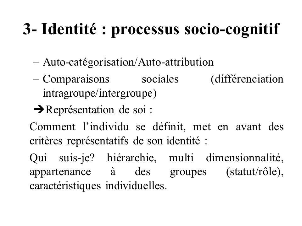 3- Identité : processus socio-cognitif –Auto-catégorisation/Auto-attribution –Comparaisons sociales (différenciation intragroupe/intergroupe) Représen