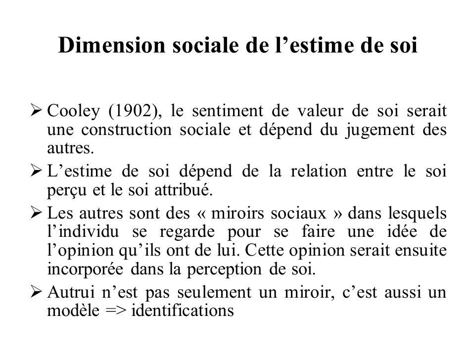 Dimension sociale de lestime de soi Cooley (1902), le sentiment de valeur de soi serait une construction sociale et dépend du jugement des autres. Les