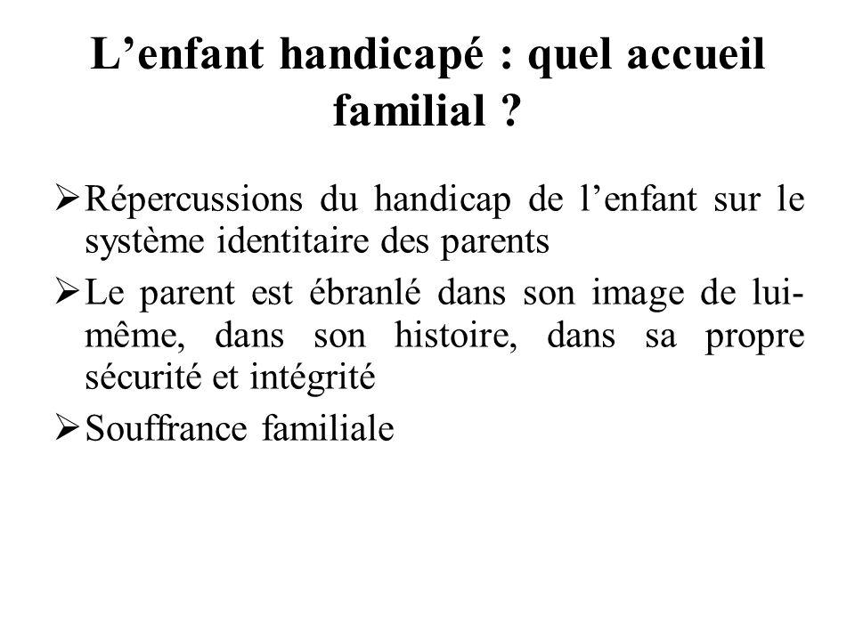 Lenfant handicapé : quel accueil familial ? Répercussions du handicap de lenfant sur le système identitaire des parents Le parent est ébranlé dans son