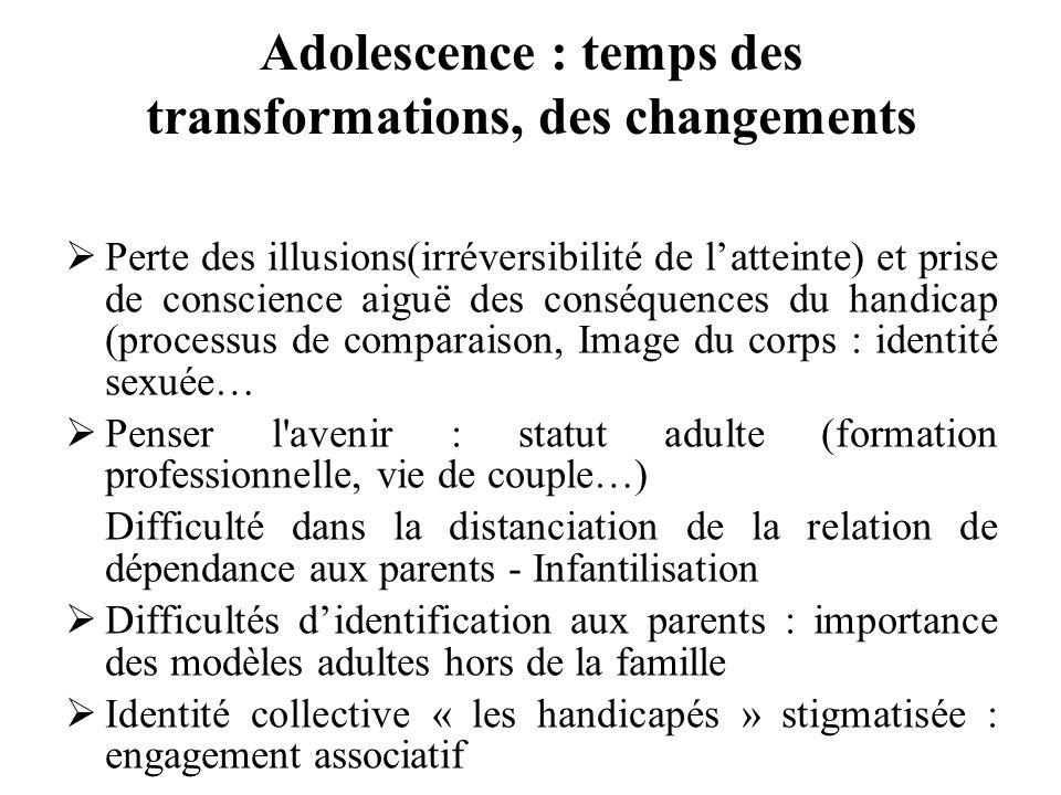 Adolescence : temps des transformations, des changements Perte des illusions(irréversibilité de latteinte) et prise de conscience aiguë des conséquenc