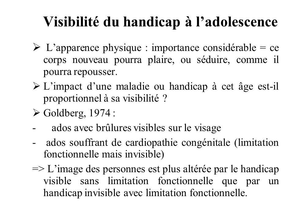 Visibilité du handicap à ladolescence Lapparence physique : importance considérable = ce corps nouveau pourra plaire, ou séduire, comme il pourra repo