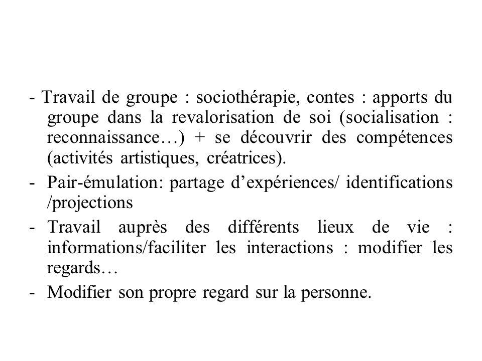 - Travail de groupe : sociothérapie, contes : apports du groupe dans la revalorisation de soi (socialisation : reconnaissance…) + se découvrir des com