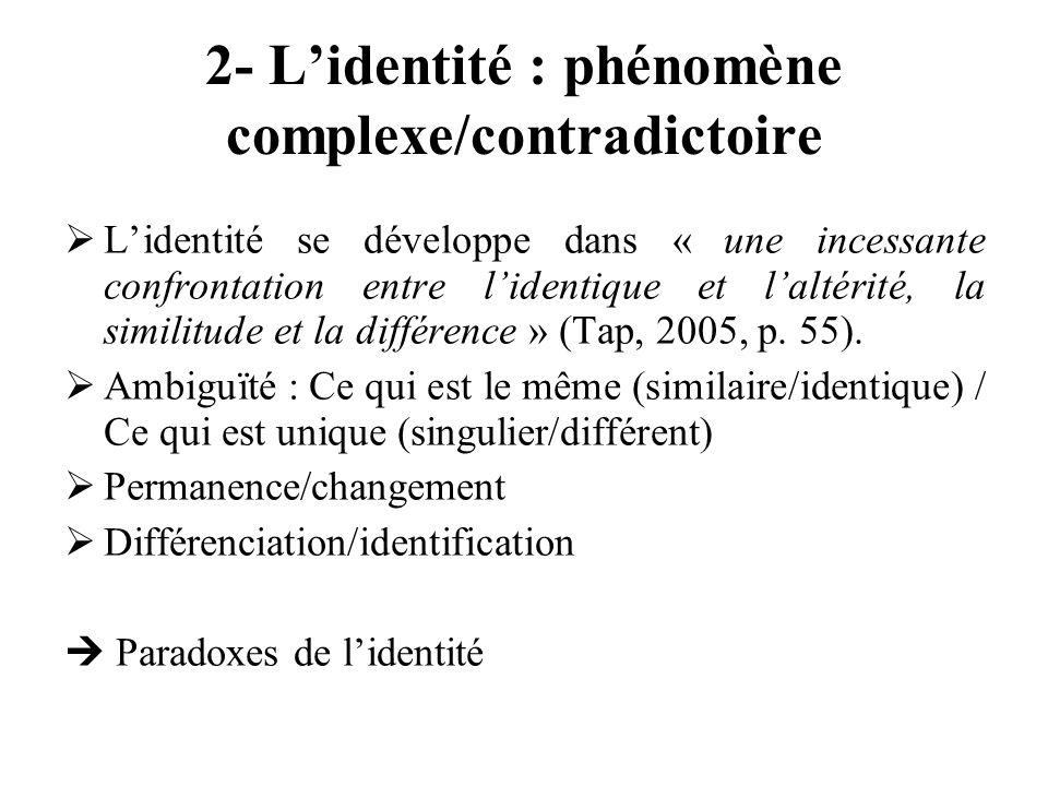 2- Lidentité : phénomène complexe/contradictoire Lidentité se développe dans « une incessante confrontation entre lidentique et laltérité, la similitu