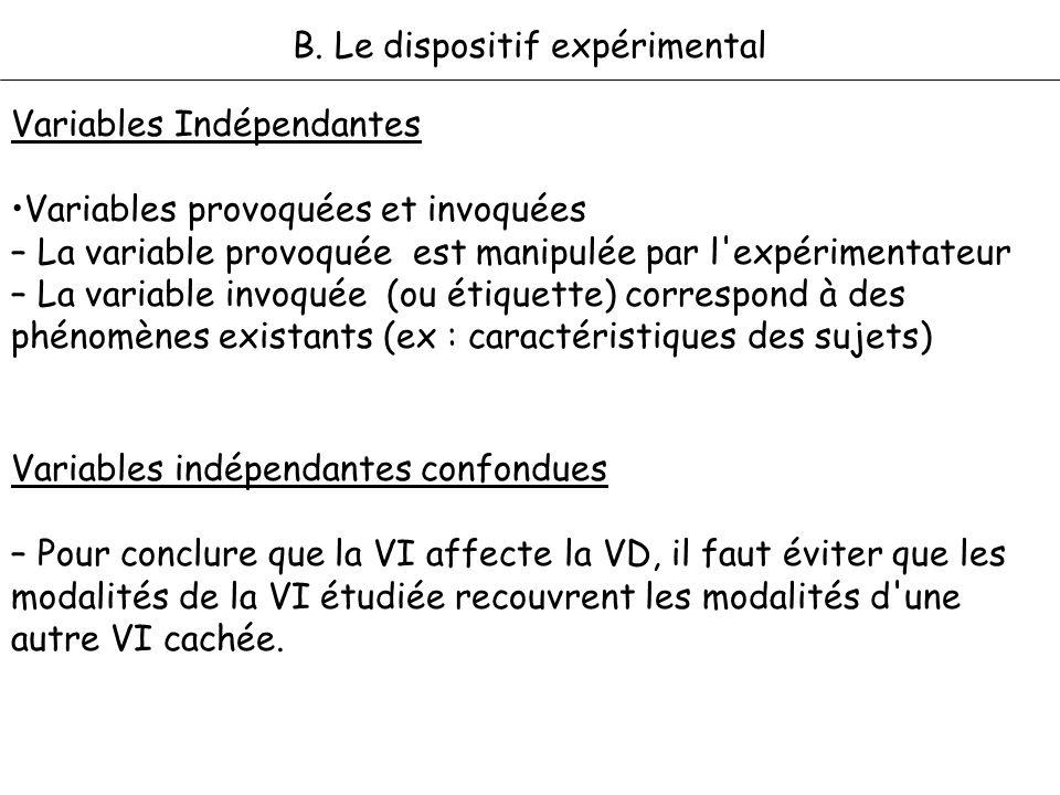 B. Le dispositif expérimental Variables Indépendantes Variables provoquées et invoquées – La variable provoquée est manipulée par l'expérimentateur –