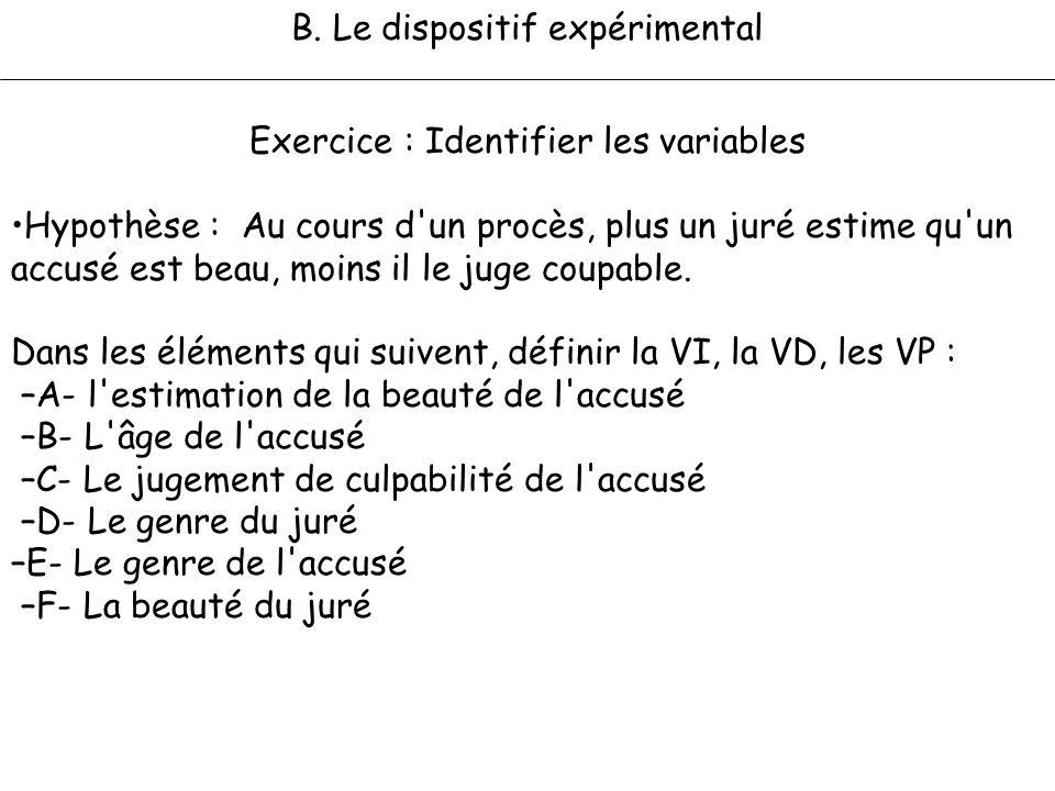 B. Le dispositif expérimental Exercice : Identifier les variables Hypothèse : Au cours d'un procès, plus un juré estime qu'un accusé est beau, moins i