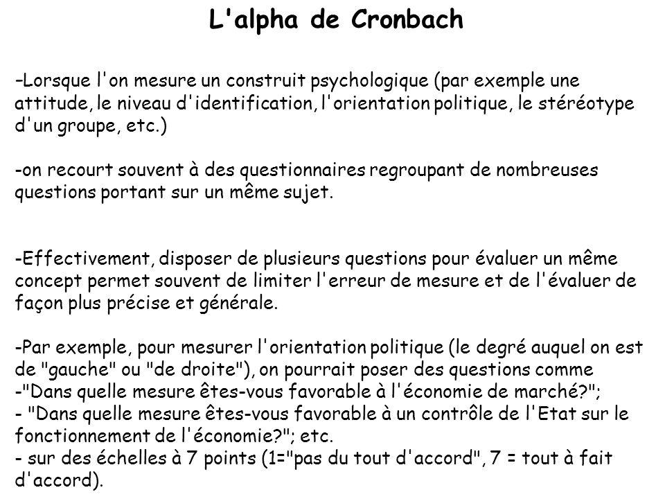 L'alpha de Cronbach - Lorsque l'on mesure un construit psychologique (par exemple une attitude, le niveau d'identification, l'orientation politique, l