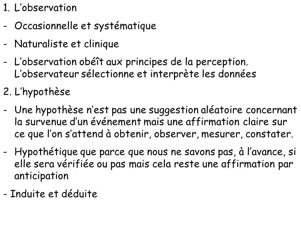1.Lobservation -Occasionnelle et systématique -Naturaliste et clinique -Lobservation obéît aux principes de la perception. Lobservateur sélectionne et