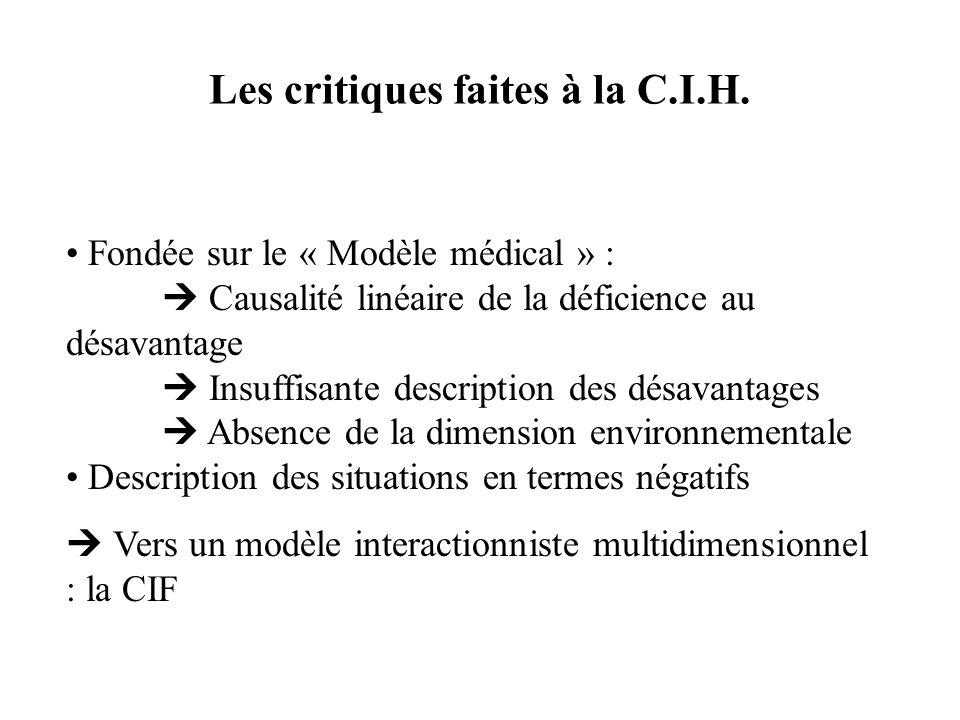 Les critiques faites à la C.I.H. Fondée sur le « Modèle médical » : Causalité linéaire de la déficience au désavantage Insuffisante description des dé