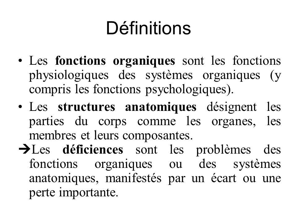 Définitions Les fonctions organiques sont les fonctions physiologiques des systèmes organiques (y compris les fonctions psychologiques). Les structure