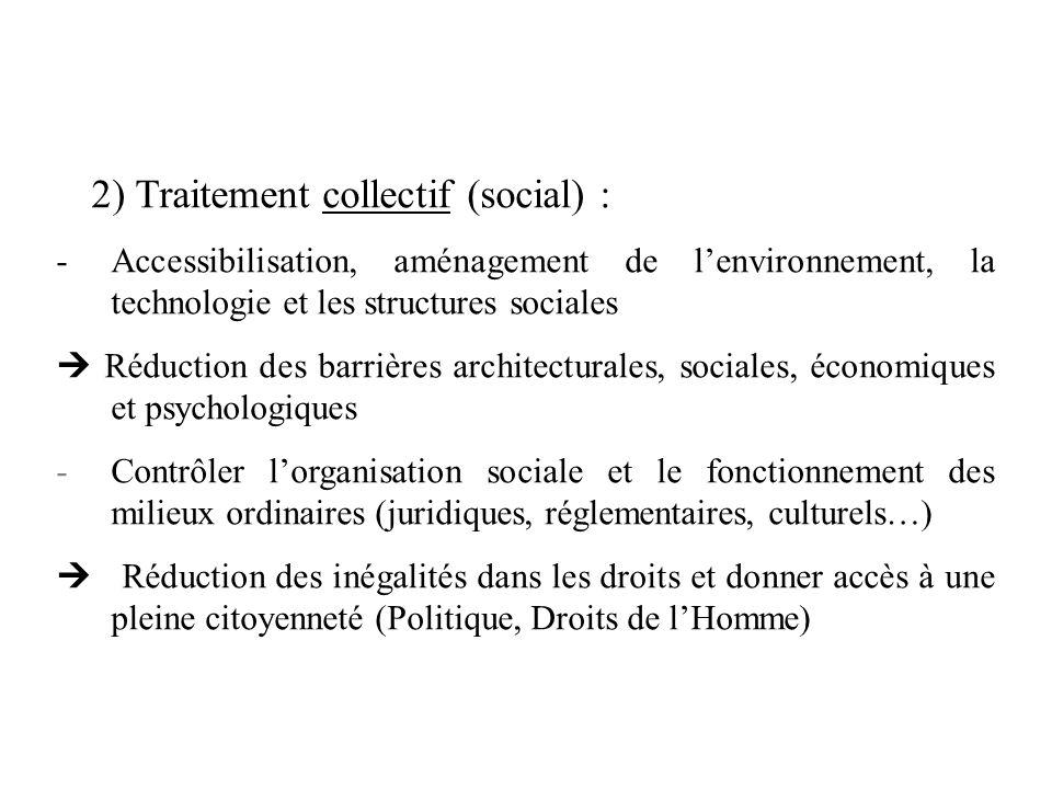 2) Traitement collectif (social) : -Accessibilisation, aménagement de lenvironnement, la technologie et les structures sociales Réduction des barrière