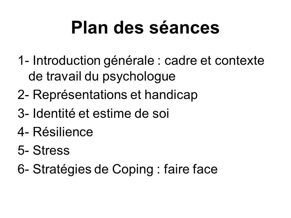 Plan des séances 1- Introduction générale : cadre et contexte de travail du psychologue 2- Représentations et handicap 3- Identité et estime de soi 4-