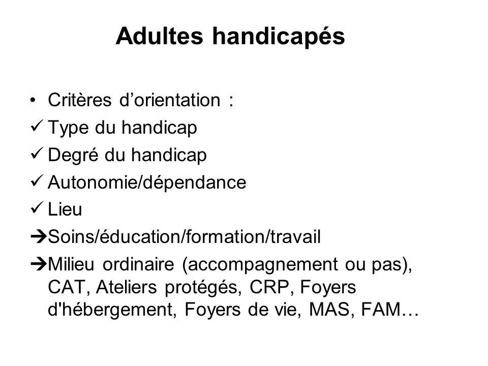 Critères dorientation : Type du handicap Degré du handicap Autonomie/dépendance Lieu Soins/éducation/formation/travail Milieu ordinaire (accompagnemen