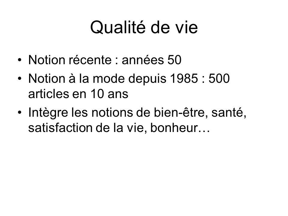 Qualité de vie Notion récente : années 50 Notion à la mode depuis 1985 : 500 articles en 10 ans Intègre les notions de bien-être, santé, satisfaction