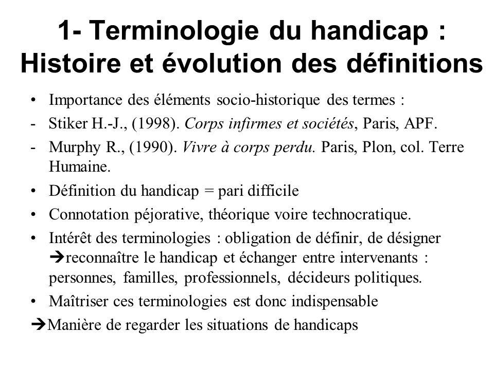 1- Terminologie du handicap : Histoire et évolution des définitions Importance des éléments socio-historique des termes : - Stiker H.-J., (1998). Corp