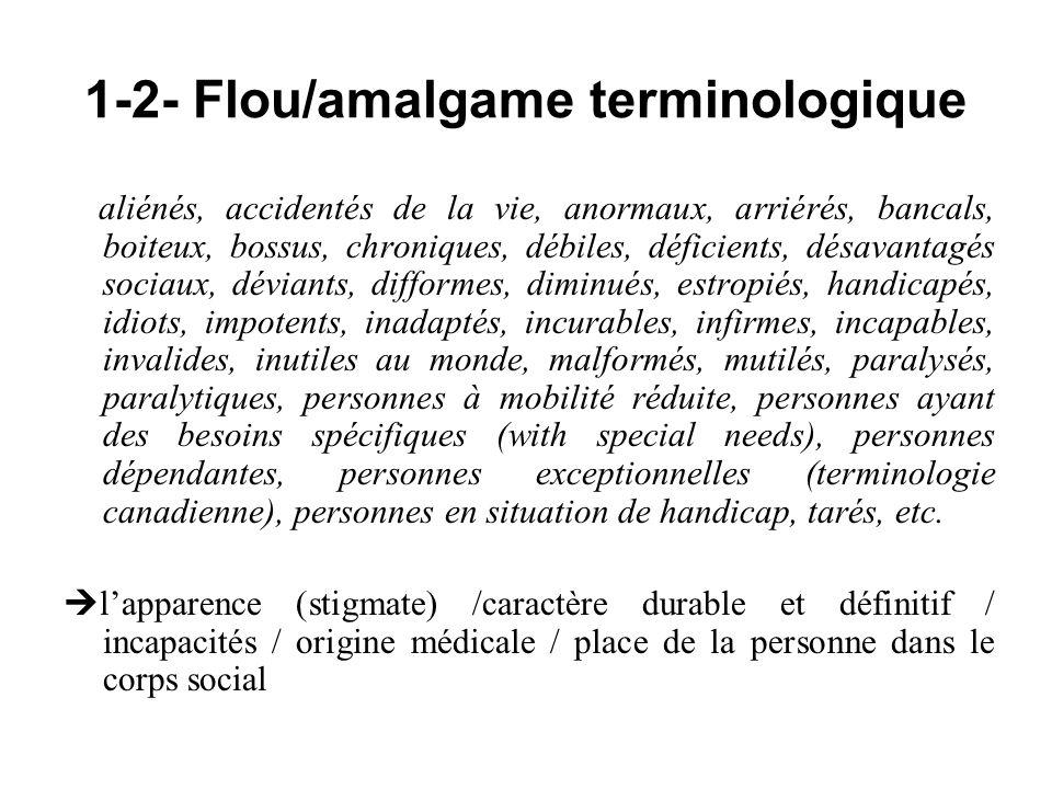 1-2- Flou/amalgame terminologique aliénés, accidentés de la vie, anormaux, arriérés, bancals, boiteux, bossus, chroniques, débiles, déficients, désava