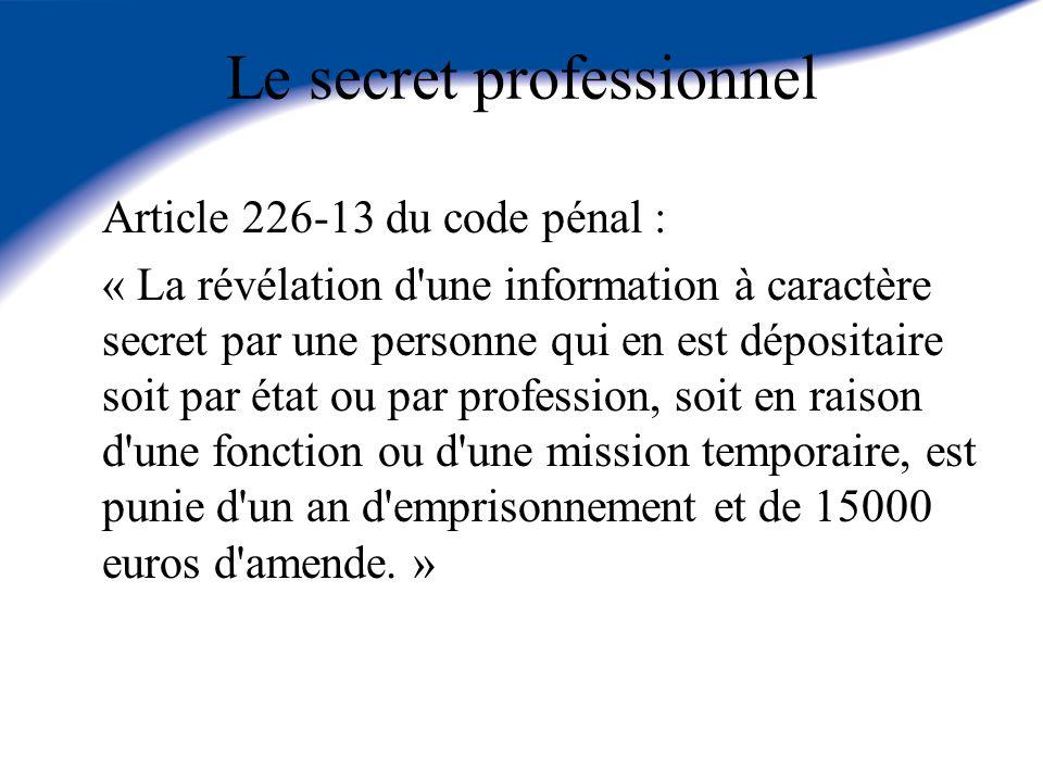 Le secret professionnel Article 226-13 du code pénal : « La révélation d'une information à caractère secret par une personne qui en est dépositaire so