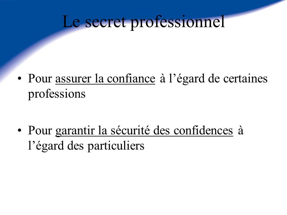 Le secret professionnel Pour assurer la confiance à légard de certaines professions Pour garantir la sécurité des confidences à légard des particulier