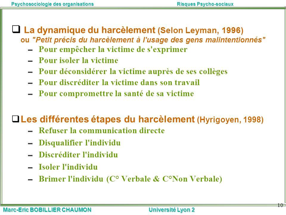 Marc-Eric BOBILLIER CHAUMON Université Lyon 2 Psychosociologie des organisationsRisques Psycho-sociaux 10 La dynamique du harcèlement (Selon Leyman, 1