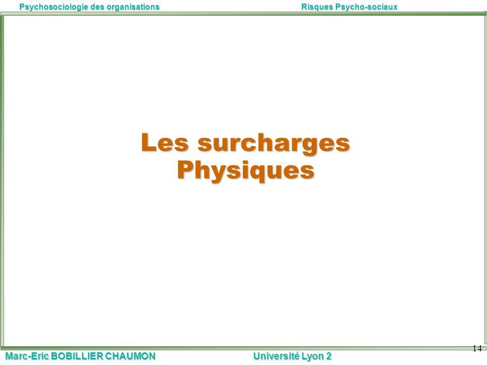 Marc-Eric BOBILLIER CHAUMON Université Lyon 2 Psychosociologie des organisationsRisques Psycho-sociaux 14 Les surcharges Physiques