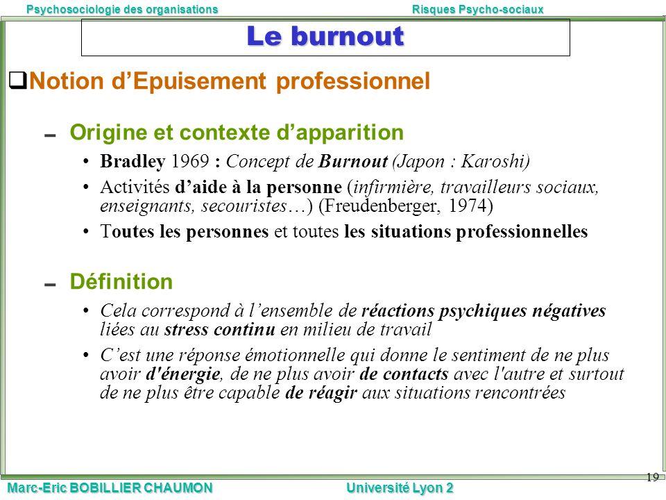 Marc-Eric BOBILLIER CHAUMON Université Lyon 2 Psychosociologie des organisationsRisques Psycho-sociaux 19 Le burnout Notion dEpuisement professionnel