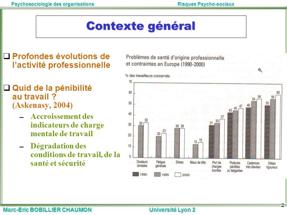 Marc-Eric BOBILLIER CHAUMON Université Lyon 2 Psychosociologie des organisationsRisques Psycho-sociaux 2 Contexte général Profondes évolutions de lact