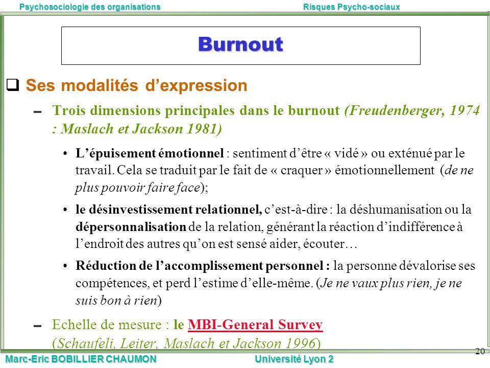 Marc-Eric BOBILLIER CHAUMON Université Lyon 2 Psychosociologie des organisationsRisques Psycho-sociaux 20 Burnout Ses modalités dexpression Trois dime