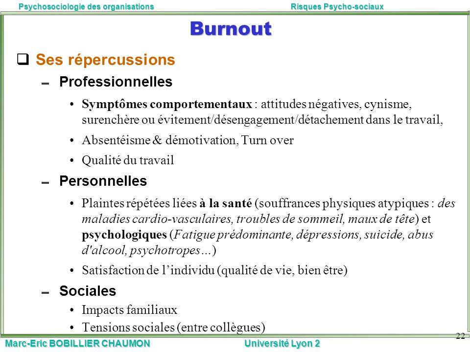 Marc-Eric BOBILLIER CHAUMON Université Lyon 2 Psychosociologie des organisationsRisques Psycho-sociaux 22 Burnout Ses répercussions Professionnelles S