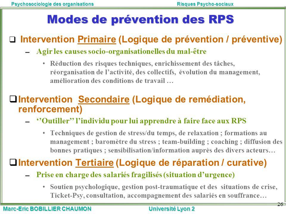 Marc-Eric BOBILLIER CHAUMON Université Lyon 2 Psychosociologie des organisationsRisques Psycho-sociaux Modes de prévention des RPS Intervention Primai