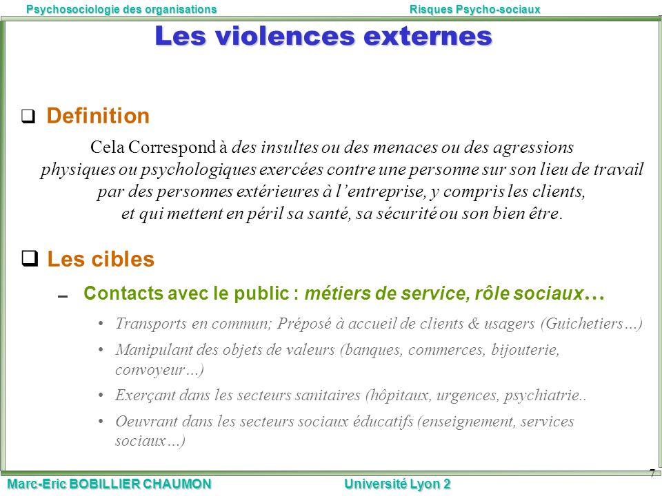 Marc-Eric BOBILLIER CHAUMON Université Lyon 2 Psychosociologie des organisationsRisques Psycho-sociaux 7 Les violences externes Definition Cela Corres