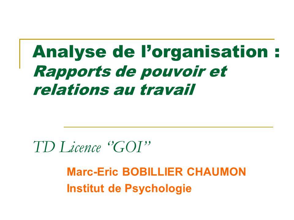 Analyse de lorganisation : Rapports de pouvoir et relations au travail TD Licence GOI Marc-Eric BOBILLIER CHAUMON Institut de Psychologie
