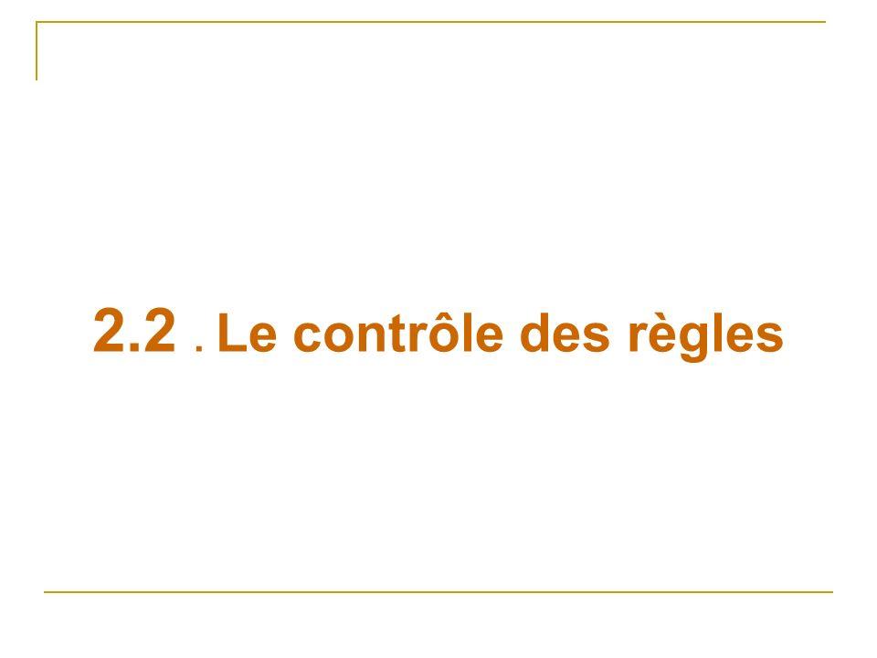 2.2. Le contrôle des règles