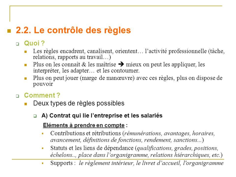Quoi ? Les règles encadrent, canalisent, orientent… lactivité professionnelle (tâche, relations, rapports au travail…) Plus on les connaît & les maîtr
