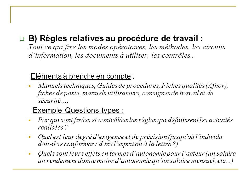 B) Règles relatives au procédure de travail : Tout ce qui fixe les modes opératoires, les méthodes, les circuits dinformation, les documents à utilise