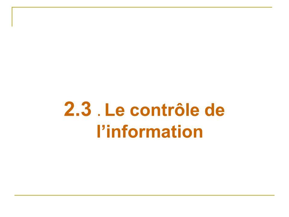 2.3. Le contrôle de linformation