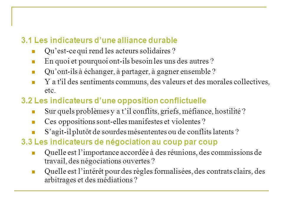 3.1 Les indicateurs dune alliance durable Quest-ce qui rend les acteurs solidaires ? En quoi et pourquoi ont-ils besoin les uns des autres ? Quont-ils