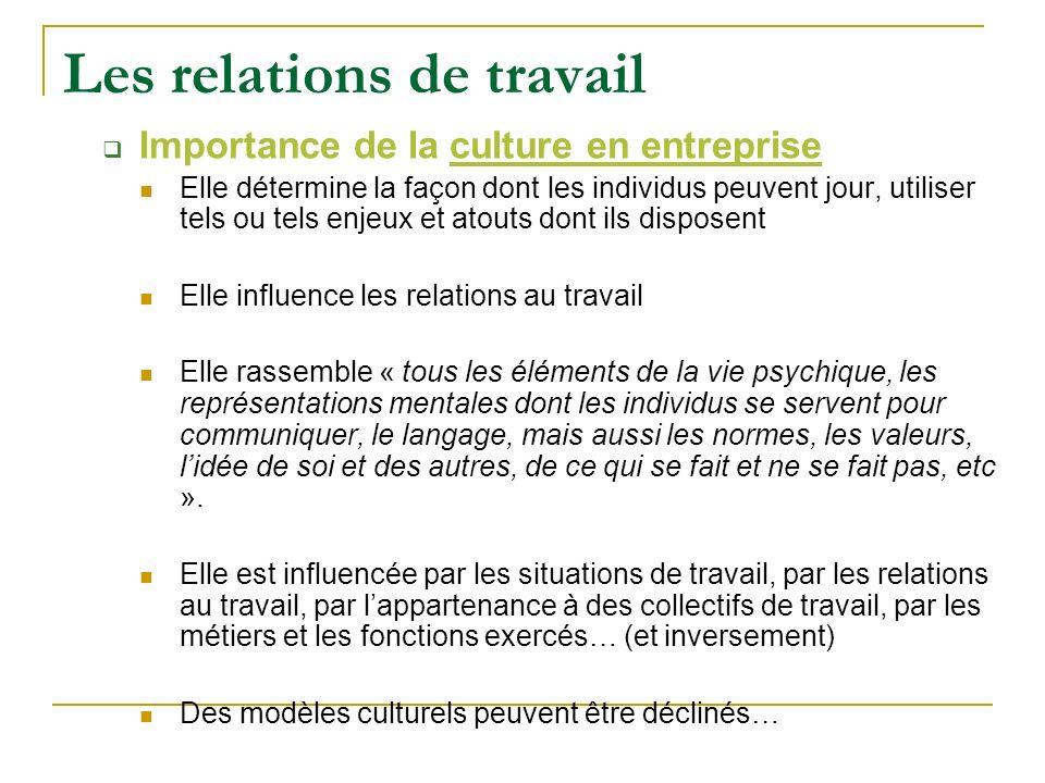 Les relations de travail Importance de la culture en entreprise Elle détermine la façon dont les individus peuvent jour, utiliser tels ou tels enjeux
