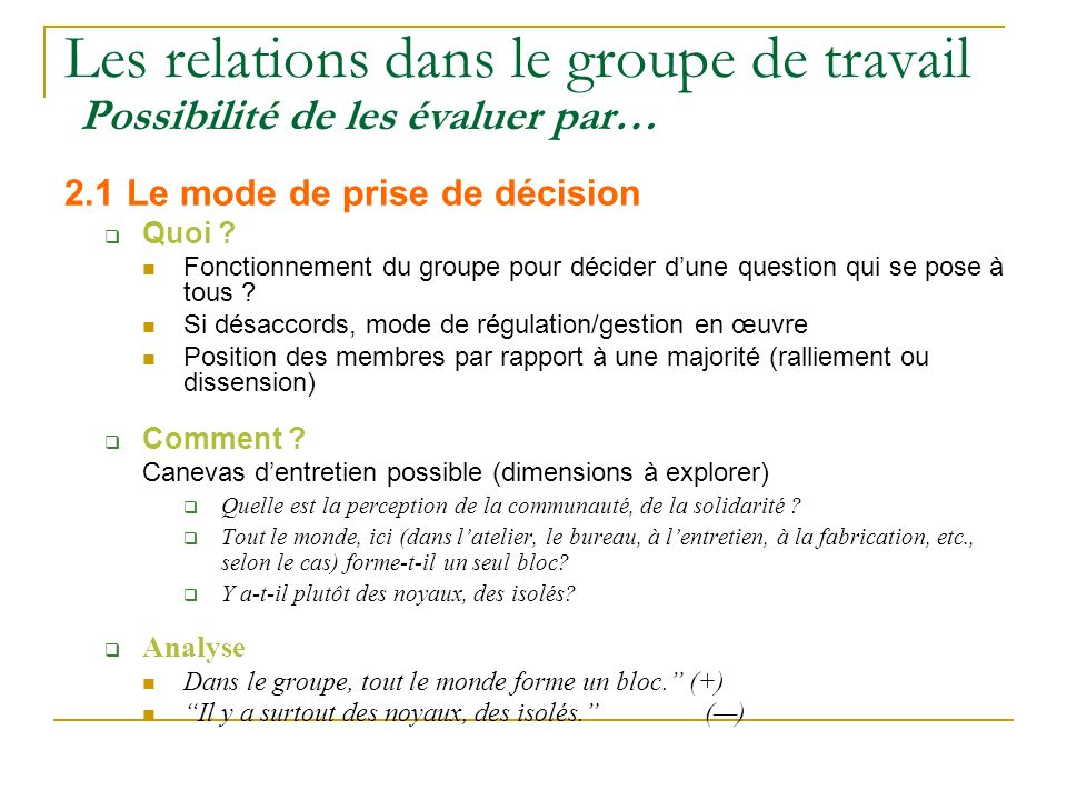 Les relations dans le groupe de travail Possibilité de les évaluer par… 2.1 Le mode de prise de décision Quoi ? Fonctionnement du groupe pour décider