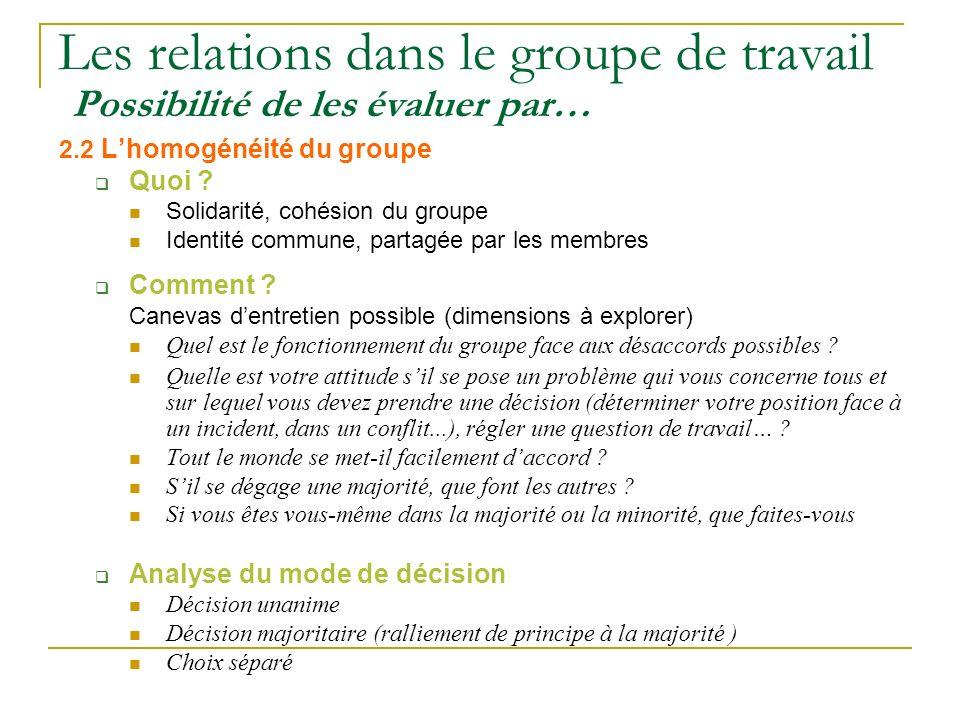 Les relations dans le groupe de travail Possibilité de les évaluer par… 2.2 Lhomogénéité du groupe Quoi ? Solidarité, cohésion du groupe Identité comm