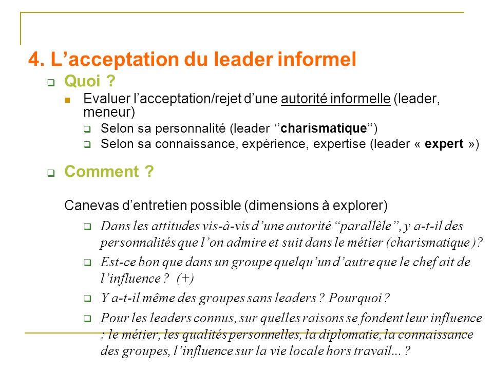 4. Lacceptation du leader informel Quoi ? Evaluer lacceptation/rejet dune autorité informelle (leader, meneur) Selon sa personnalité (leader charismat