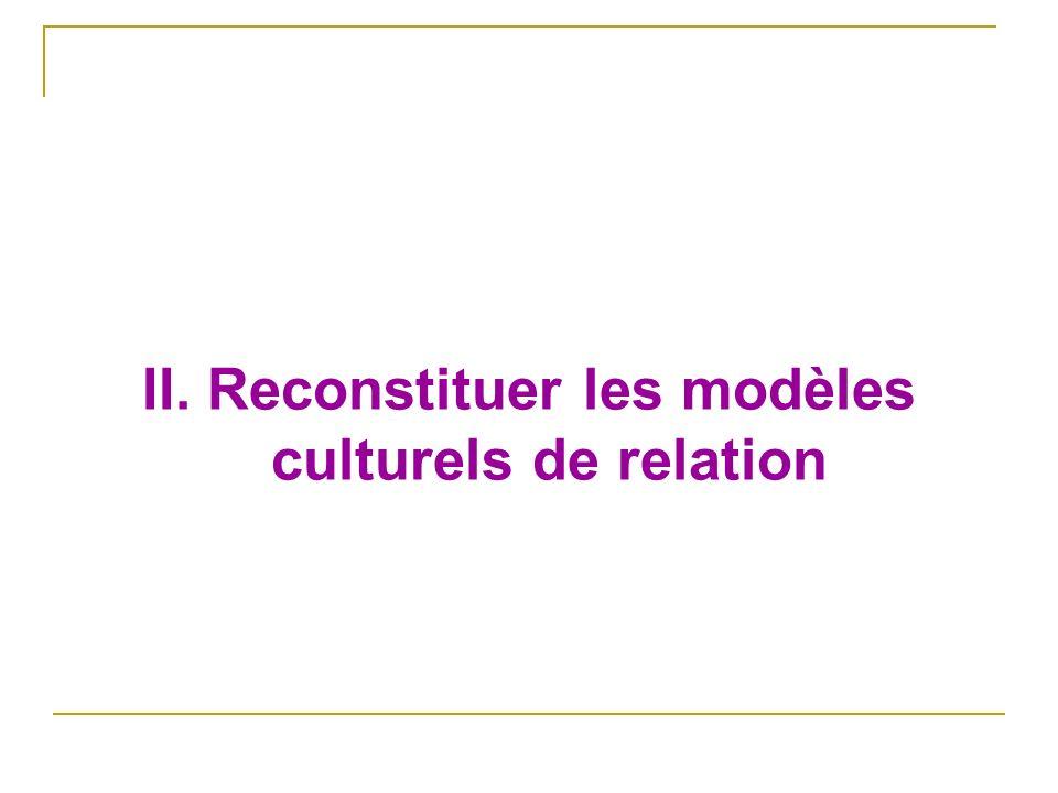 II. Reconstituer les modèles culturels de relation