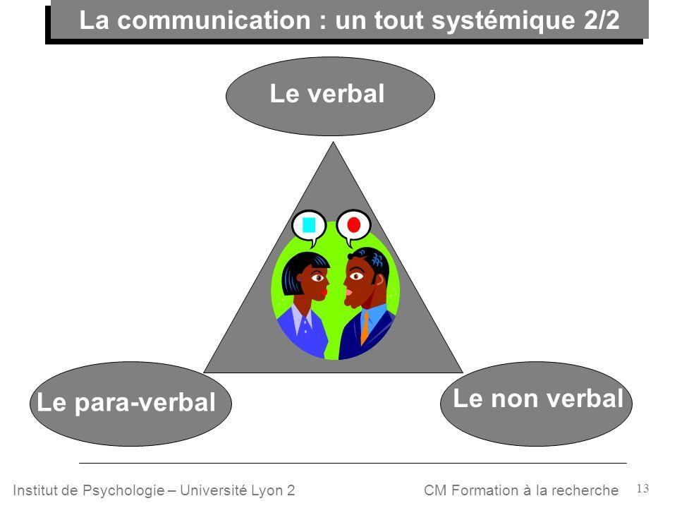 13 CM Formation à la rechercheInstitut de Psychologie – Université Lyon 2 Le para-verbal Le non verbal Le verbal La communication : un tout systémique