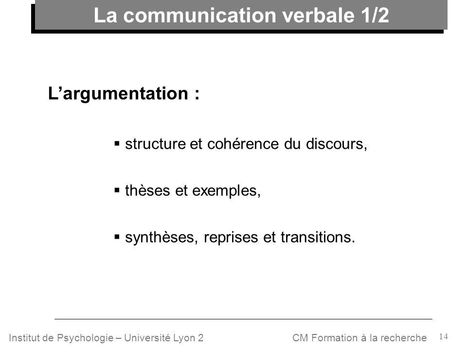 14 CM Formation à la rechercheInstitut de Psychologie – Université Lyon 2 Largumentation : structure et cohérence du discours, thèses et exemples, syn