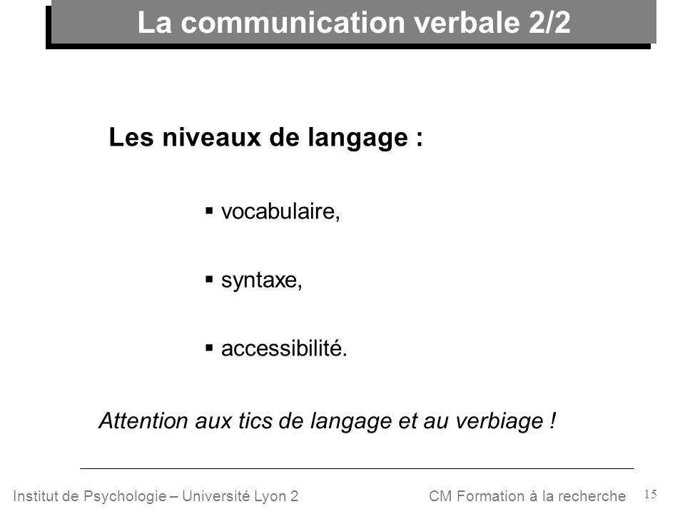 15 CM Formation à la rechercheInstitut de Psychologie – Université Lyon 2 Attention aux tics de langage et au verbiage ! Les niveaux de langage : voca