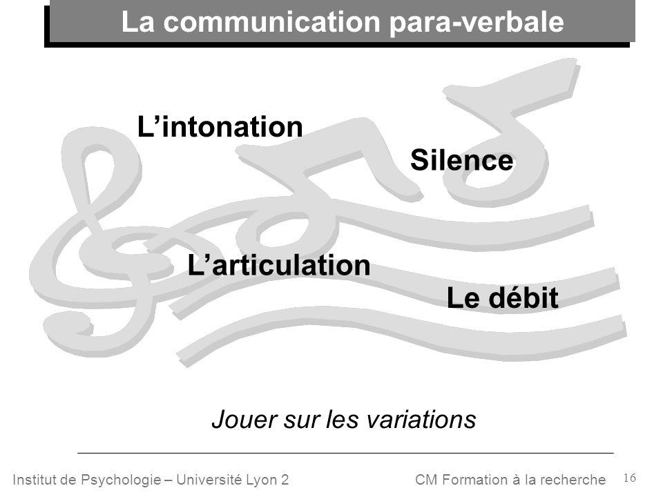 16 CM Formation à la rechercheInstitut de Psychologie – Université Lyon 2 Le débit Lintonation Larticulation La communication para-verbale Jouer sur l